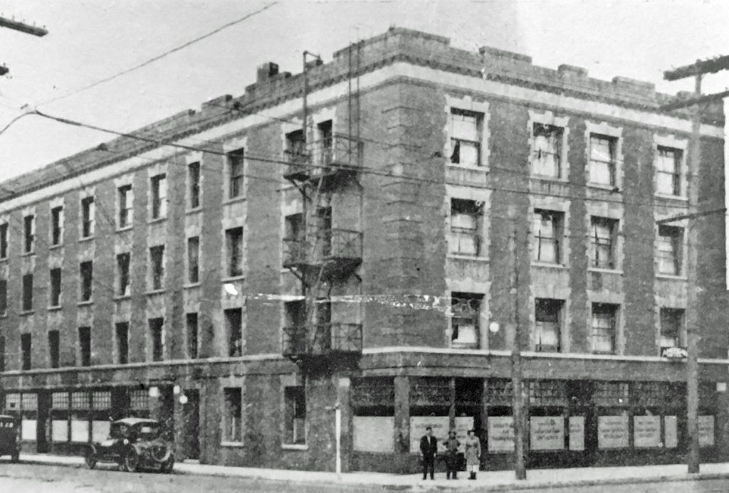 The American Hotel in 1923. Built in 1905 as luxury lodgings for African Americans, it became a haven for Japanese immigrants in the years before World War II, when all its tenants were forced to leave for internment camps.