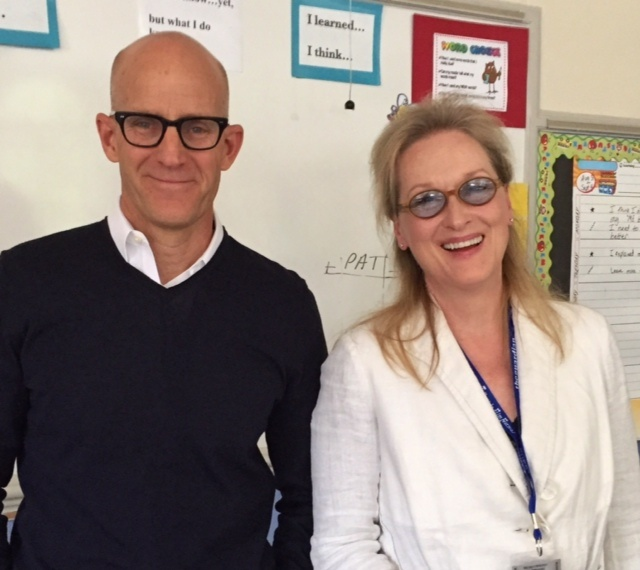 John Horn and Meryl Streep in a classroom after a screening of