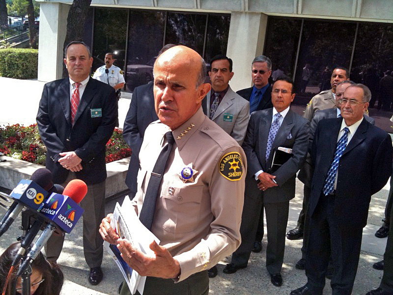 L.A. County Sheriff Lee Baca defends himself against ACLU jail report, Wednesday, July 28, 2011.