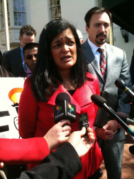 Pramila Jaipal, of the Fair Immigration Reform Movement, at a press conference in Washington D.C., March 31.