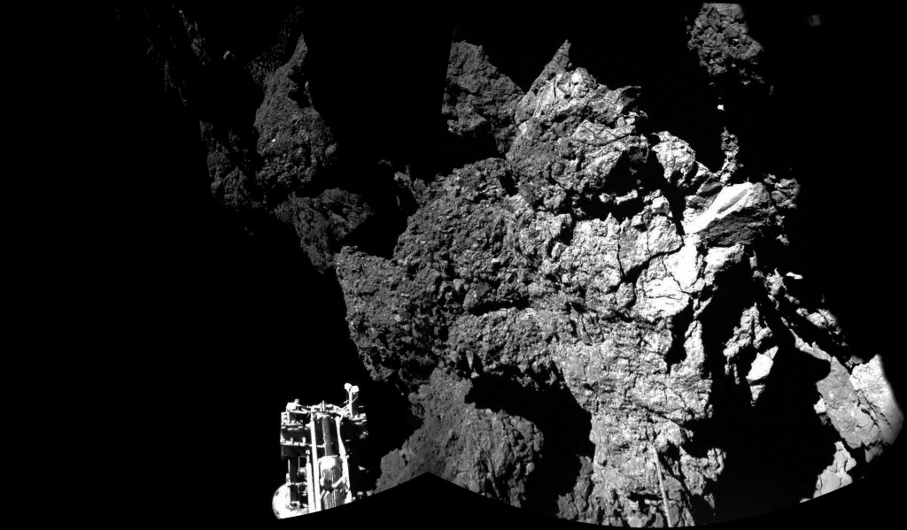 This November 13, 2014 handout photo provided by the European Space Agency (ESA) shows the surface of the 67P/Churyumov-Gerasimenko comet as seen from the Philae lander, which landed on the comet's surface yesterday. ESA, despite some malfunctions on the Philae craft, successfully landed it on the comet on November 12, 2014 making it the first man-made craft to ever land on a comet. The Philae lander, launched from the Rosetta probe, is a mini laboratory that will gather data on the comet.