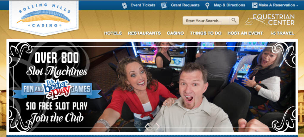 A screenshot taken September 3, 2013 of the Rolling Hills Casino website. The casino is at the center of an audit that revealed millions of dollars in mismanaged funds.