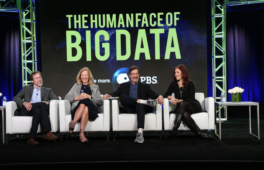 (L-R) Director and producer Sandy Smolan, Linda Avey, co-founder and CEO Are Curious, Inc., executive producer Rick Smolan and Sue Karlin, science, technology and arts journalist, speak onstage during 'The Human Face of Big Data' panel.