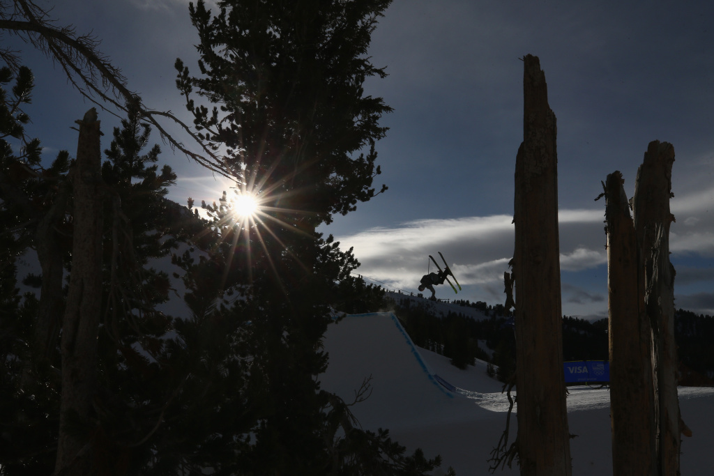 McRae Williams competes in the final round of the  Men's Freeski Slopestyle during the Toyota U.S. Grand Prix on on January 21, 2018 in Mammoth, California.