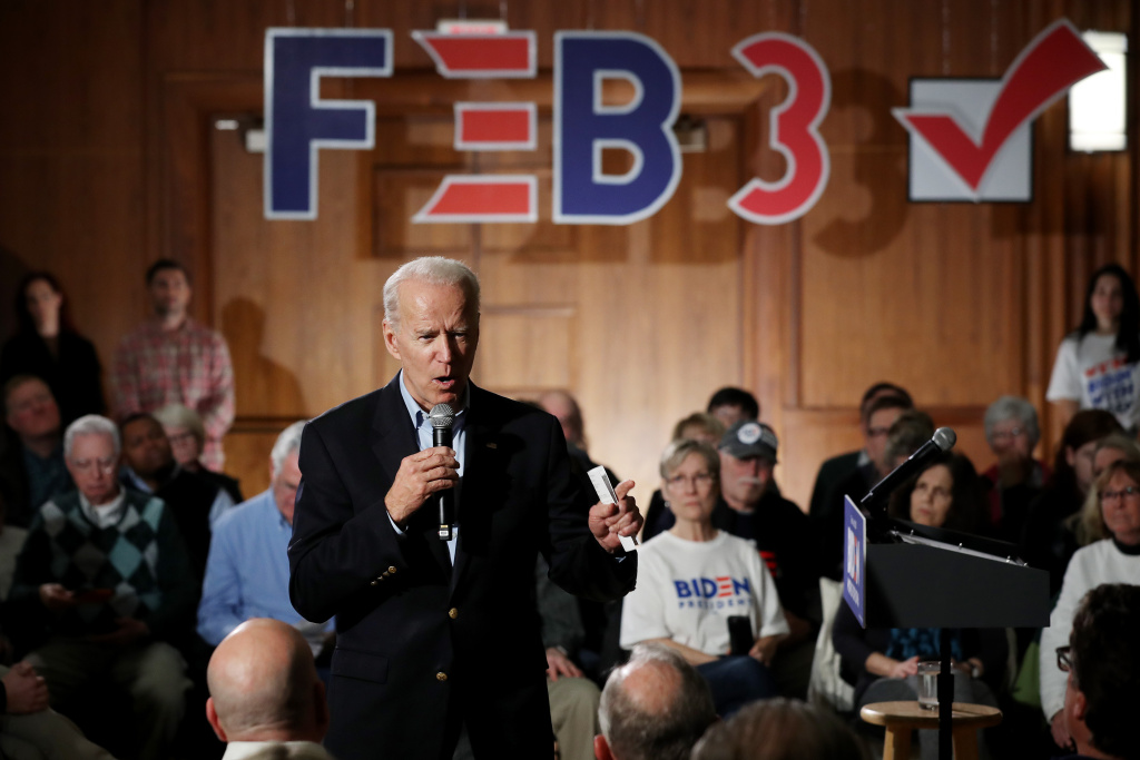 Democratic presidential candidate former Vice President Joe Biden speaks during a campaign town hall event at the Iowa Memorial Union Ballroom at the University of Iowa January 27, 2020 in Iowa City, Iowa.
