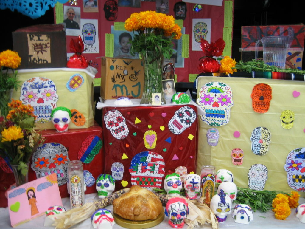 Day of the Dead altar created by middle school students at Dolores Mission School in Boyle Heights.