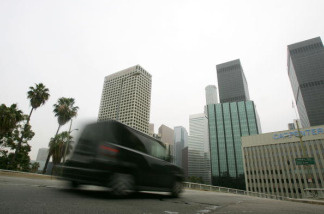 Traffic is seen on a hazy day in downtown Los Angeles, California on April 4, 2007