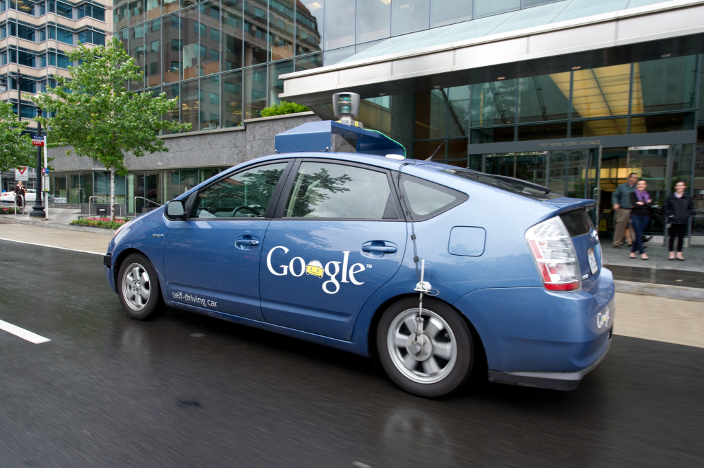 In this file photo, the Google self-driving car maneuvers through the streets of in Washington, DC May 14, 2012. Even before self-driving cars hit the streets, there are alert systems that could be installed that would detect the location and speed of other cars and warn drivers of an impending impact. The Obama administration says it wants to require that future cars and trucks be equipped with such technology.