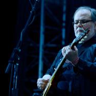 Musician Walter Becker of Steely Dan performs onstage during day 1 of the 2015 Coachella Valley Music & Arts Festival (Weekend 1) at the Empire Polo Club on April 10, 2015 in Indio, California.