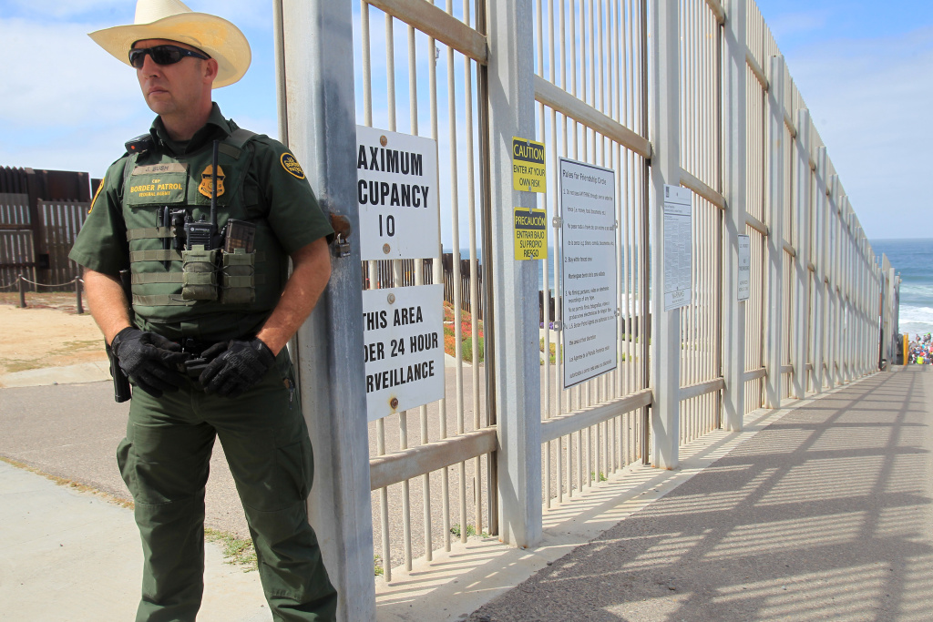 A Border Patrol officer guards the entrance to Friendship Park, which has many restrictions, on April 29, 2018 in San Diego, California.