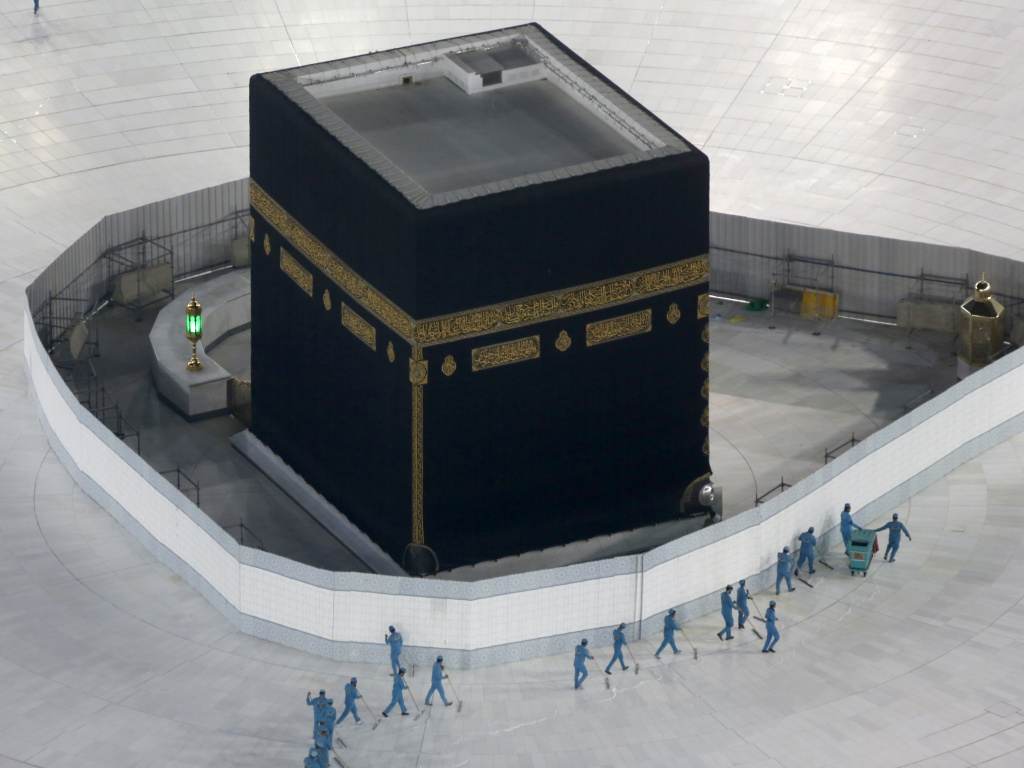 The area around the Kaaba, the cubic building at the Grand Mosque in the Muslim holy city of Mecca, Saudi Arabia, was closed and disinfected in March. Officials have announced that this year's hajj will be restricted because of the pandemic.