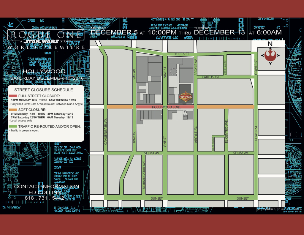 A street closure map showing the streets that are closed throughout the week.