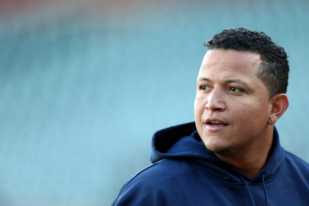 Miguel Cabrera #24 of the Detroit Tigers looks on during a Tigers team workout during World Series Media Day at AT&T Park on October 23, 2012 in San Francisco, California. The Tigers will face the San Francisco Giants tomorrow in game one.