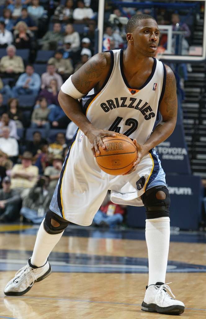 Lorenzen Wright, #42 of the Memphis Grizzlies, controls the ball against the New York Knicks during the game on December 7, 2004 at the FedEx Forum in Memphis, Tennessee.