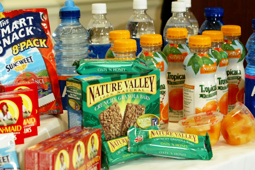 Snacks and drinks with higher nutritional value are displayed during a news conference on school food nutrition September 15, 2003 in Washington, DC.