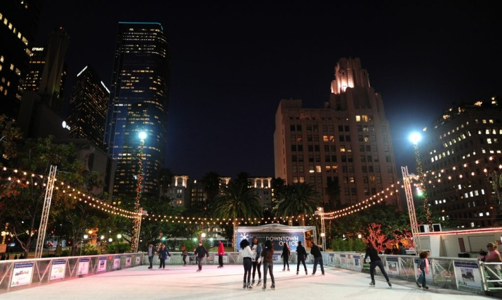Skaters take to the ice at an outdoor ri