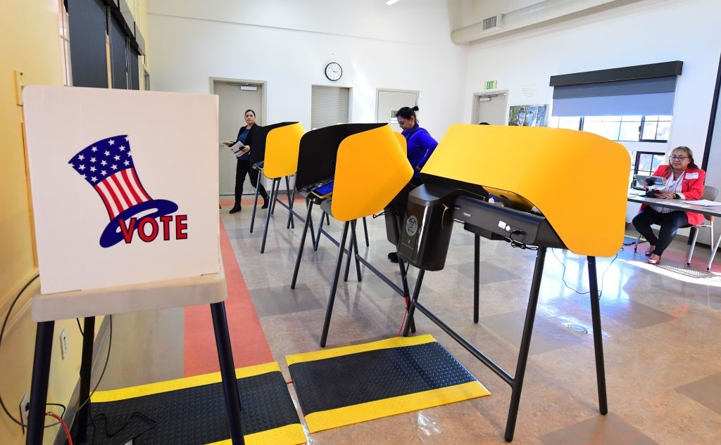 People cast their ballots at the South Whittier Community Resource Center in Whittier, California for the presidential primary on Super Tuesday, March 3, 2020.