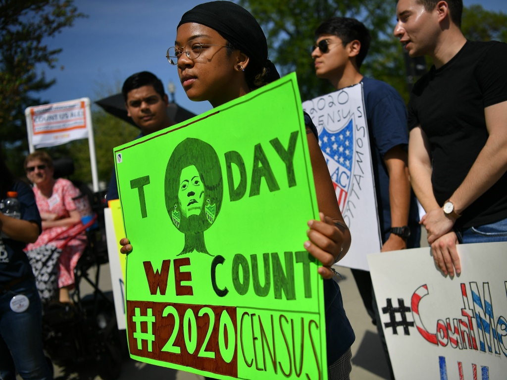 Demonstrators against a proposal to add a citizenship question to the 2020 census protest outside the U.S. Supreme Court in Washington, D.C., in April.