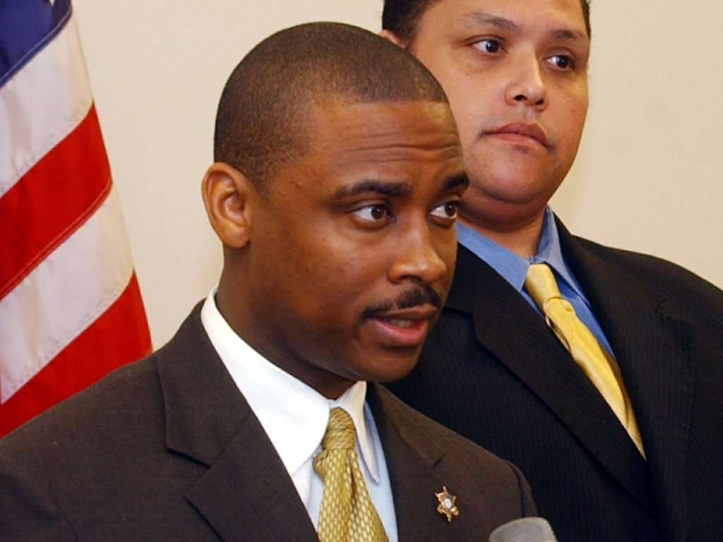 Clayton County, Ga., Sheriff Victor Hill is accused of violating the civil rights of several people in his agency's custody by ordering that they be unnecessarily strapped into a restraint chair and left there for hours, according to a federal indictment. Hill is seen here in 2005.