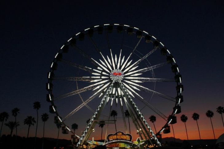 The Stagecoach festival Ferris wheel was a popular attraction as night fell over Indio on Friday.