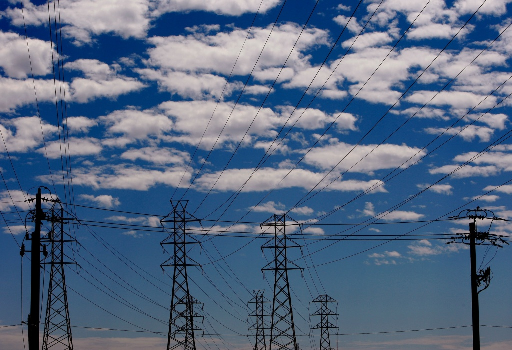 Towers carrying electrical lines are shown Aug. 30, 2007 in South San Francisco, California.