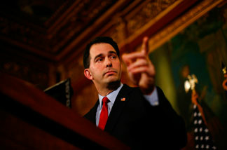 Republican Gov. Scott Walker speaks at a news conference inside the Wisconsin State Capitol February 21, 2011 in Madison, Wisconsin.