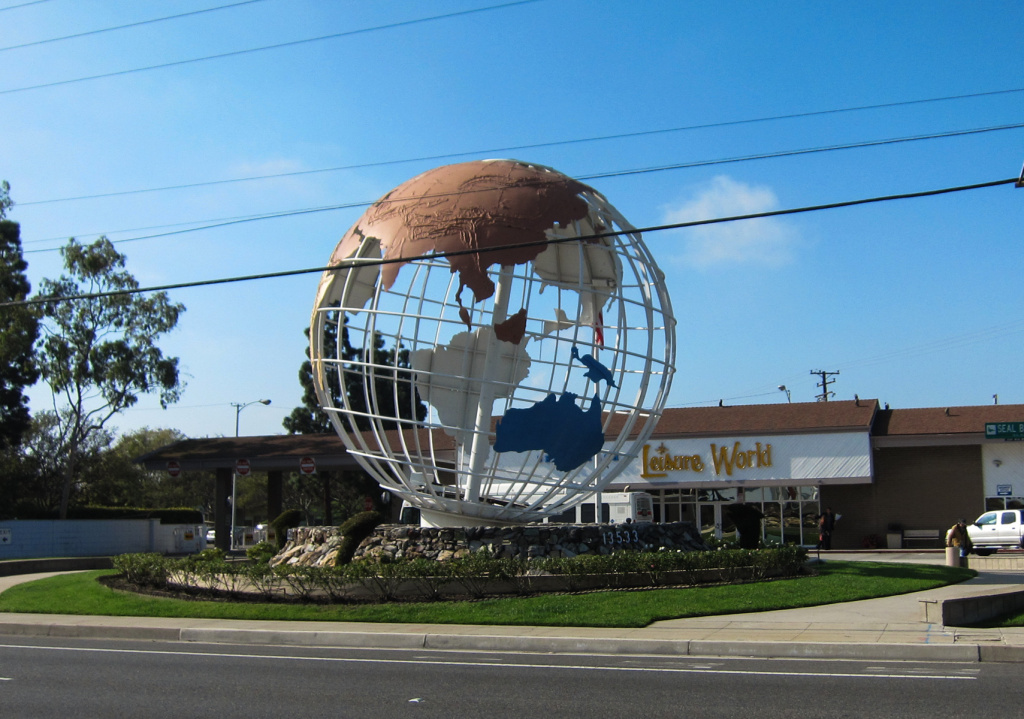 Rotating globe at entrance to Leisure World in Seal Beach, CA. Leisure World is a gated retirement community with 9000 households.