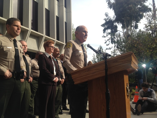 Los Angeles County Sheriff Lee Baca announces his unexpected retirement on January 7, 2014 in Los Angeles, California. Baca has decided to leave the beleaguered sheriff's department at the end of January rather than fight for a fifth term. He insisted that his sudden decision to retire was not prompted by the possibility of federal charges against him. Eighteen current and former deputies were recently indicted on a variety of charges, including mistreating jail inmates.