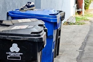 Trash and recycling bins.