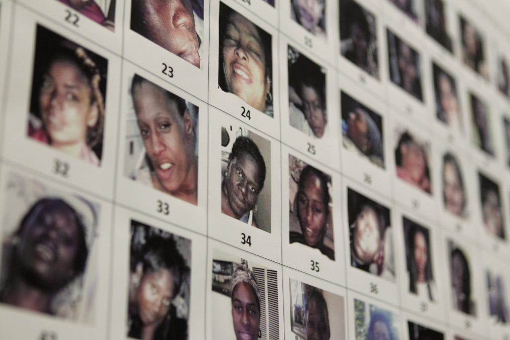 File: Photographs found in the possession of Lonnie David Franklin Jr. are shown during a news conference in Los Angeles Dec. 16, 2010.