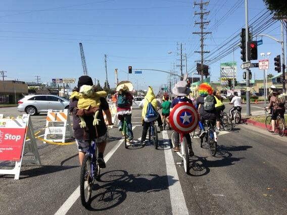 A photo of CicLAvia-goers from Maria Sipin. She says,