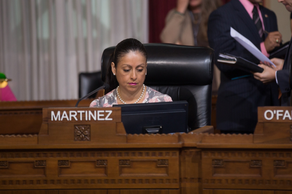 Nury Martinez at a Los Angeles City Council meeting on August 6th, 2013. A new infographic released by the L.A. City Controller's Office Thursday reports on gender disparities in city government. Martinez is the only woman on a 15-person council.