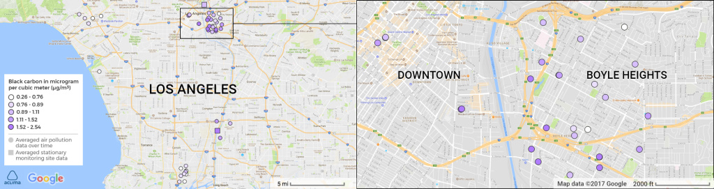 Google Street View cars equipped with air pollution sensors measured diesel soot levels near L.A. schools. Higher pollution levels (indicated by dark purple) were found near Downtown L.A. and Boyle Heights.