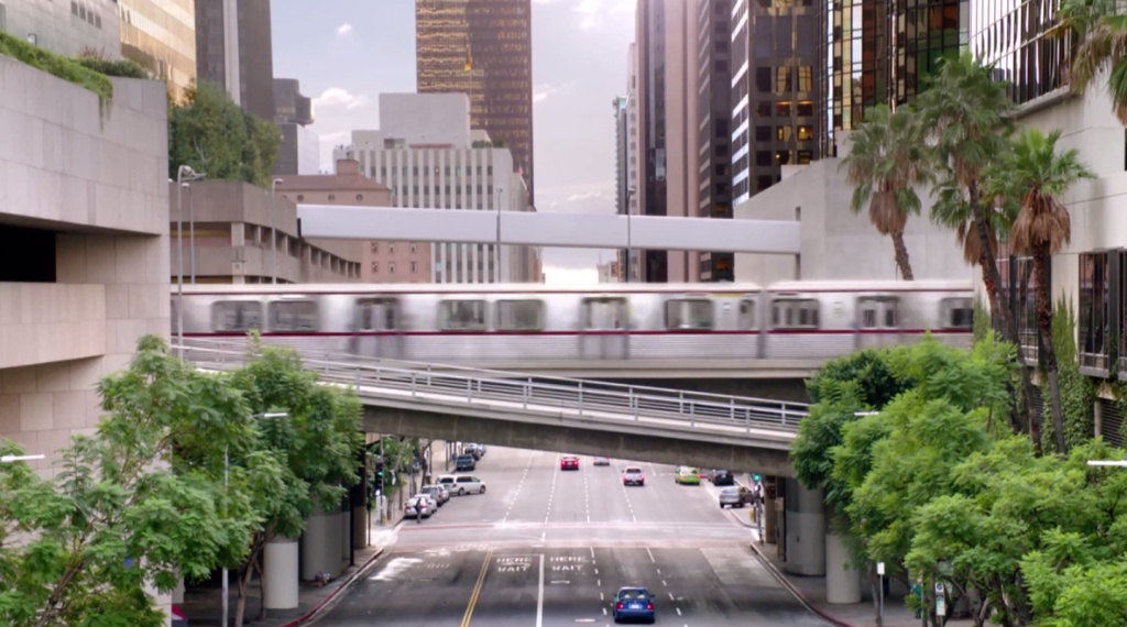 The Metro Red Line going through downtown Los Angeles in a University of Phoenix ad — which it doesn't do in real life. (Seriously, go downtown and look up.)