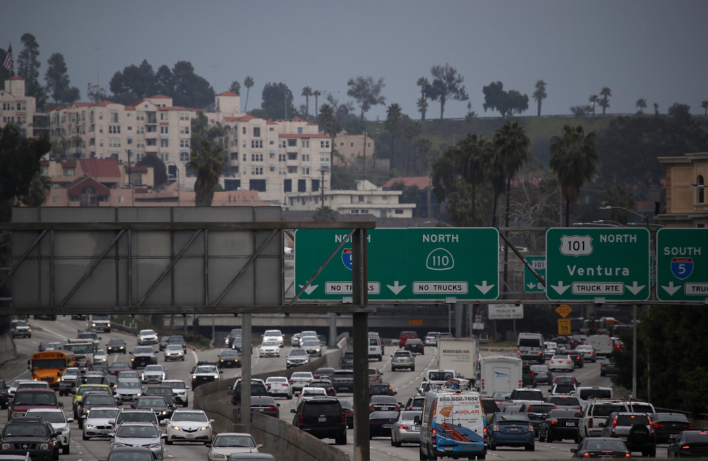 LOS ANGELES, CA - FEBRUARY 21:  Cars travel along State Route 110  on February 21, 2017 in Los Angeles, California. According to a report by Kirkland, Washington based traffic analytics firm INRIX, Los Angeles is the most traffic-clogged city in the world. Motorists in Los Angeles spent an average of 104 hours in traffic in 2016 that amounted to an estimated $2,408 per driver in wasted fuel and productivity.  (Photo by Justin Sullivan/Getty Images)