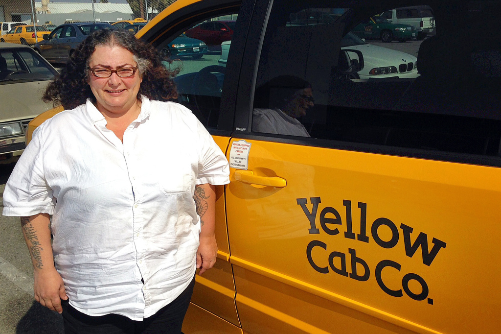 Frances Nazarian has been an L.A. taxicab driver for over a decade. She says it's a challenge to compete with ride-sharing services, but only in upscale neighborhoods.