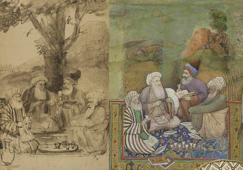 Left: Four Mullahs Seated under a Tree (Sheikh Husain Jami, Sheikh Husain Ajmeri, Sheikh Muhammad Mazandarani, and Sheikh Miyan Mir), about 1656–61, Rembrandt Harmensz. van Rijn. Left: Four Mullahs (from panel of paintings from the Millionenzimmer), 1627–28, unknown Indian artist.