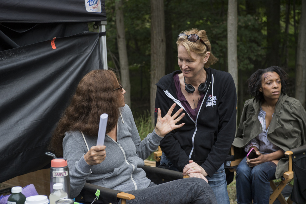 Creator/showrunner Melissa Rosenberg (center) and actress Janet McTeer (left) on the set of Marvel's