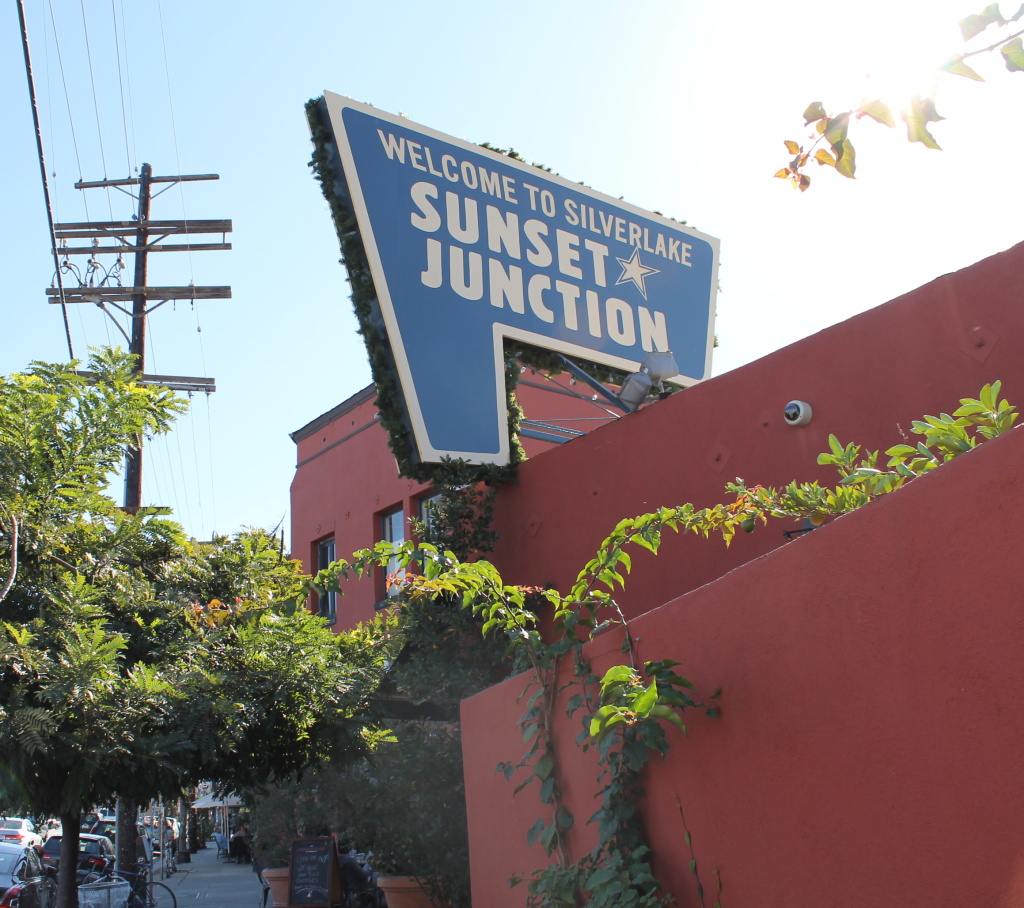 File: The Sunset Junction sign in Silver Lake.