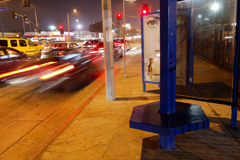 A LA Metro bus stop bench in Los Angeles. Bus stops near intersections expose riders to higher levels of vehicle exhaust than those mid-block.