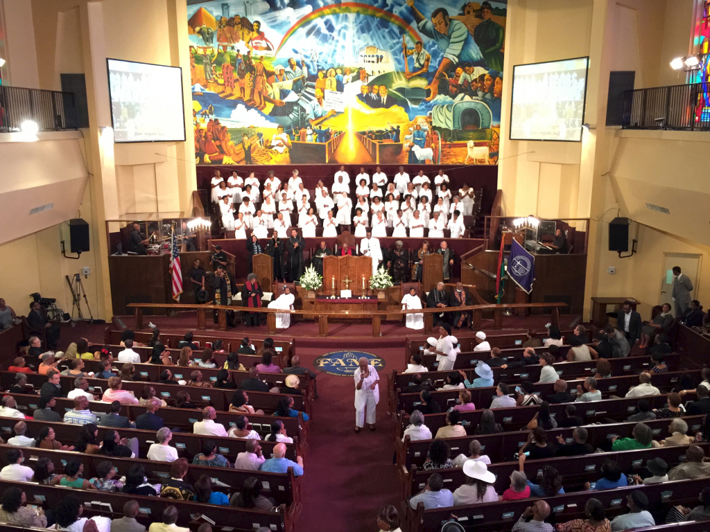 Church members gather at the first Sunday service after the shooting massacre in Charleston, South Carolina. The First African Methodist Episcopal Church in South L.A. dedicated much of the service to remembering those who died.