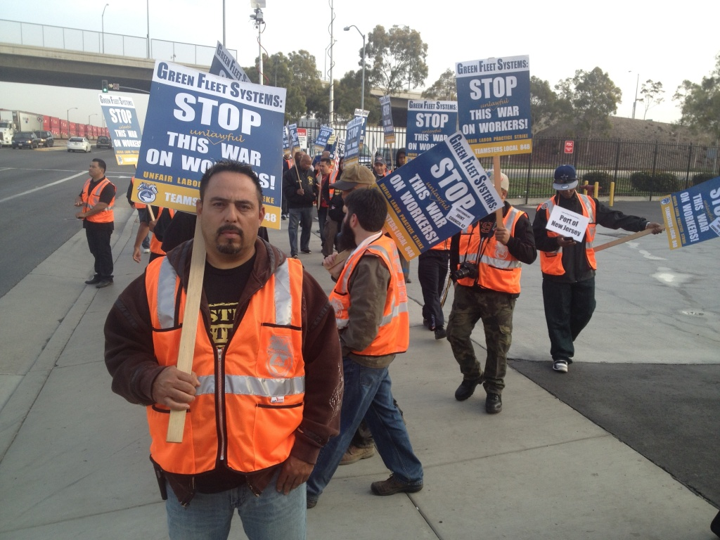 Mario Hernandez is among the truck drivers at Green Fleet Systems to stage a 36-hour strike.  They began picketing Monday morning outside the company's Carson offices.