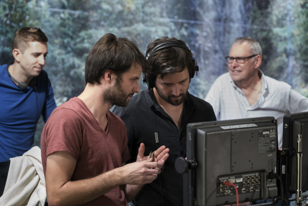 Ross (left) and Matt Duffer on the set of