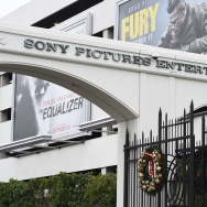 The entrance of Sony Pictures Studios in Culver City, California is seen December 16, 2014.