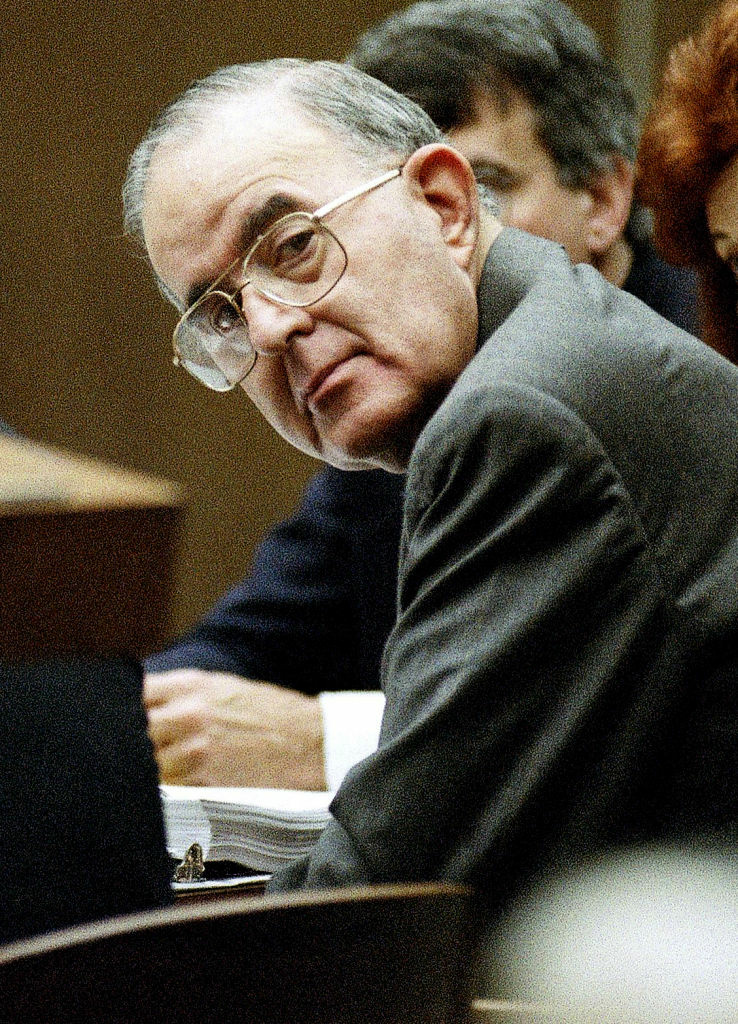 This Nov. 1996 file photo showing former Orange County treasurer Robert L. Citron sits in court in Santa Ana, California. Citron, whose bad investments as Orange County treasurer forced the county into bankruptcy in 1994, has died. He was 87.
