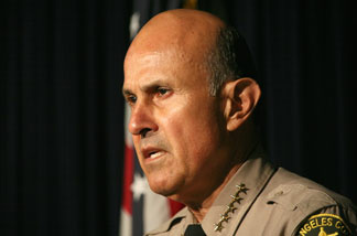 Sheriff Lee Baca at a press conference at the Los Angeles Sheriffs Department June 8, 2007 in Monterey Park, California.