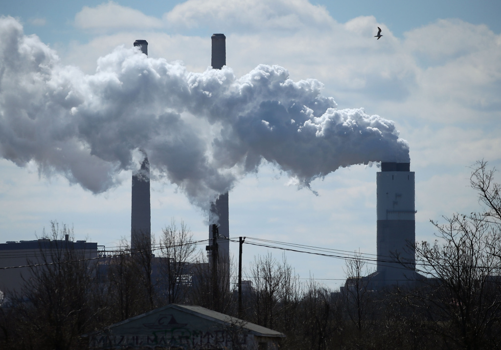Emissions spew from a large stack at the coal fired Brandon Shores Power Plant, on March 9, 2018 in Baltimore, Maryland.