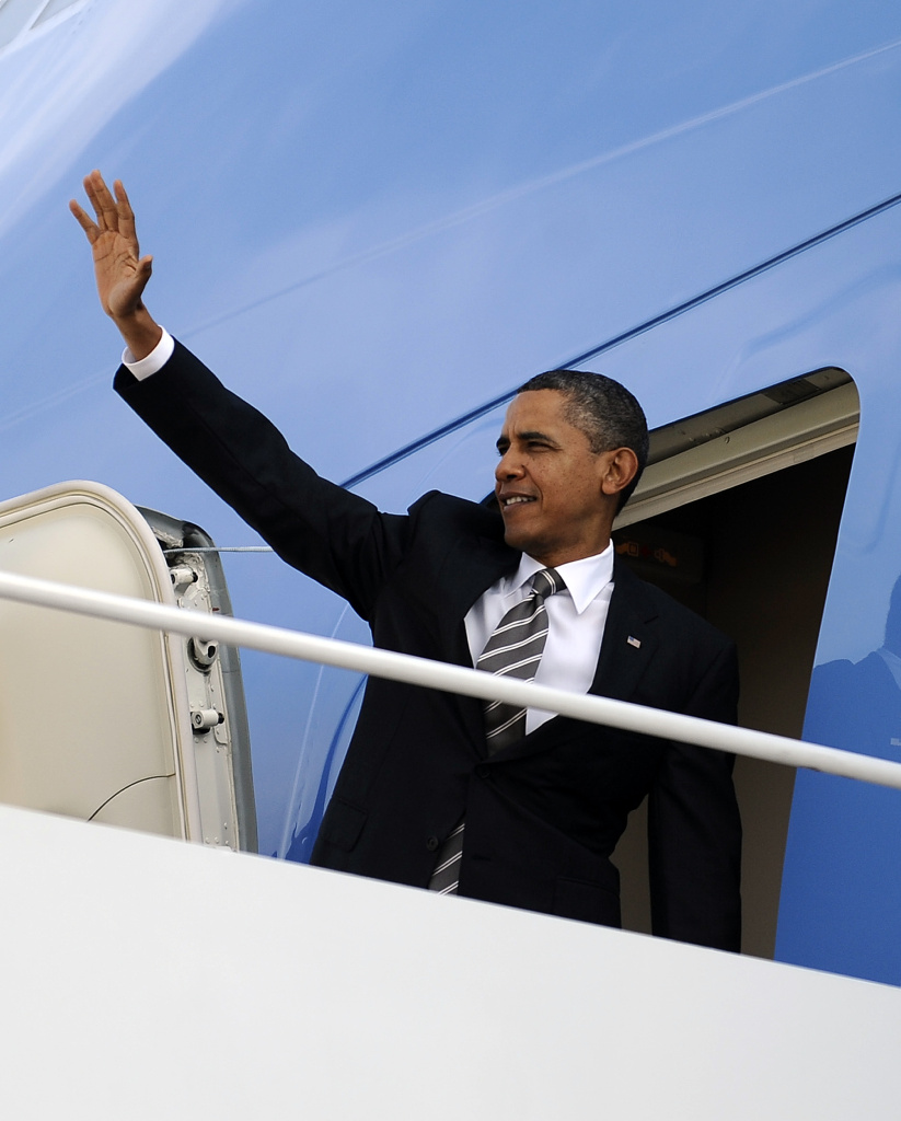 U.S. President Barack Obama boards Air Force One at the Andrews Air Force Base in Maryland on October 24, 2011, to leave for Las Vegas, Nevada, first leg of a three-day visit to West Coast. Obama said the vast majority of Americans would see a tax cut under the bill: a $447 billion proposal aimed at reviving economic growth and curbing 9.1 percent unemployment. The White House has touted the jobs bill as a shot-in-the-arm for the economy, and accused Republicans of playing politics by blocking it.