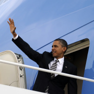 President Barack Obama boards Air Force One at the Andrews Air Force Base in Maryland in October 2011. Obama visits Nashville, Tenn. on Tuesday to drum up support for his new immigration plan.