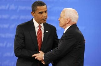 US Democratic presidential candidate Barack Obama (L) and Republican John McCain shake hands at the end of the final presidential debate at Hofstra University in Hempstead, New York, on October 15, 2008.